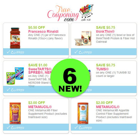 There's SIX (6!) NEW Coupons to PRINT Today for SweeTARTS, Metamucil, Tums, thinkThin & Francesco Rinaldi!