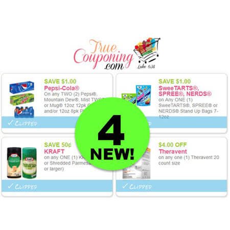 WAHOO! There's FOUR (4!) NEW Coupons For Pepsi, SteeTarts, Kraft Parmesan & Theravent!