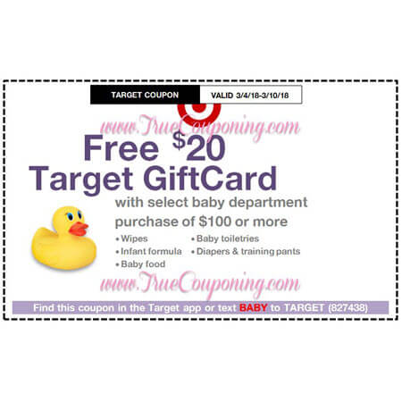 Heads Up! This Sunday (3/4/18) We're Getting a FREE $20 Gift Card wyb $100 Baby Dept. AND a $10/$40 Household Target Coupon!