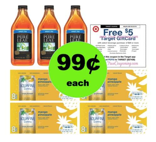 Stay Hydrated with 99¢ Aquafina Sparkling 8 Packs & Pure Leaf Bottled Tea at Target! (2/25 – 3/3)