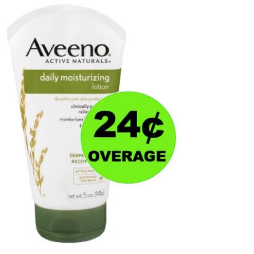 FREE + 24¢ OVERAGE on Aveeno Daily Moisturizing Lotion at Walmart!