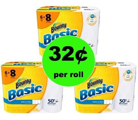 STOCK UP Deal! Get THREE (3!) Bounty Basic Paper Towel 6ct Only 32¢ per Roll at Winn Dixie! (Ends 2/13)