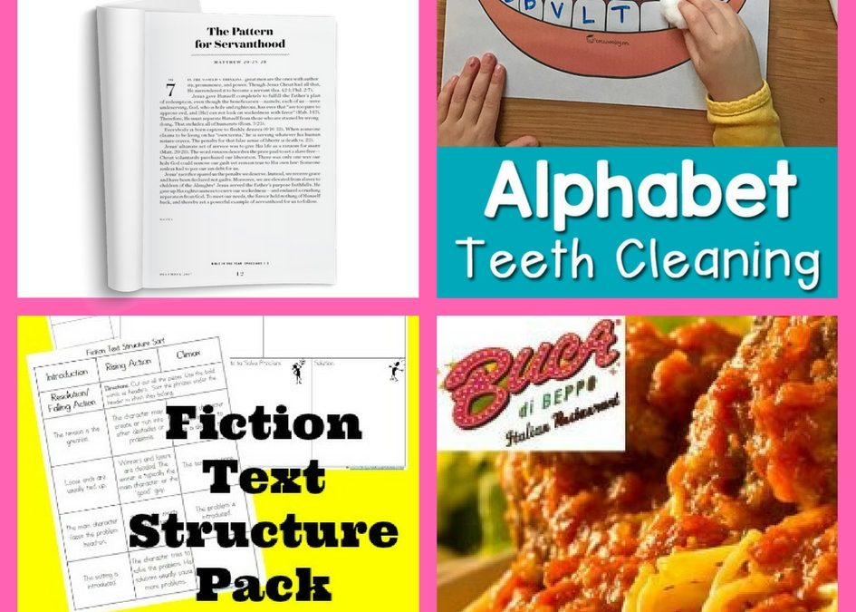FOUR (4!) FREEbies: Feed Your Faith Daily Devotional, Alphabet Teeth Cleaning Printable, Fiction Text Structure Printable Pack and a Buca di Beppo Entre!