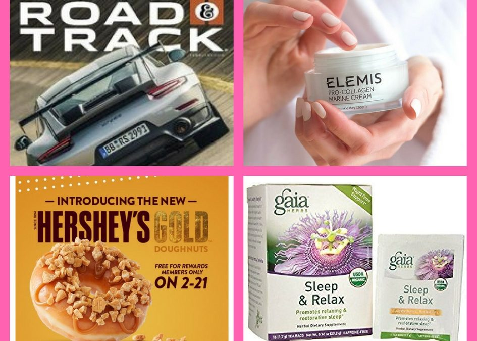 FOUR (4!) FREEbies: One-Year Subscription to Road & Track Magazine, Elemis Anti-Wrinkle Moisturizer, Krispy Kreme Doughnut and Gaia Tea!