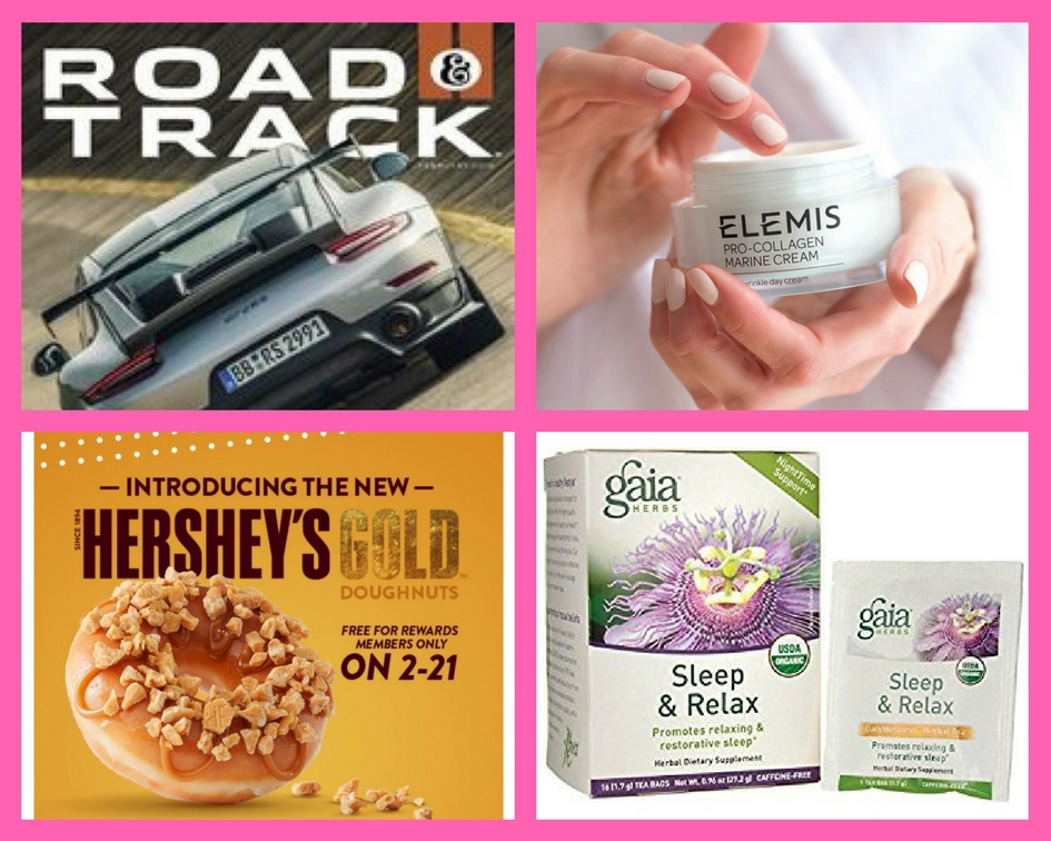 FOUR (4!) FREEbies: One-Year Subscription to Road & Track Magazine, Elemis Anti-Wrinkle Moisturizer, Krispy Kreme Doughnut and Gaia Tea!
