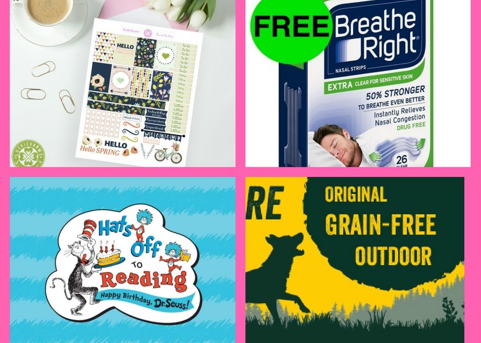 Did You See These FOUR (4!) FREEbies: Spring Planner Printable, Breathe Right Strips, Dr. Seuss Goodies and Dog Treats!
