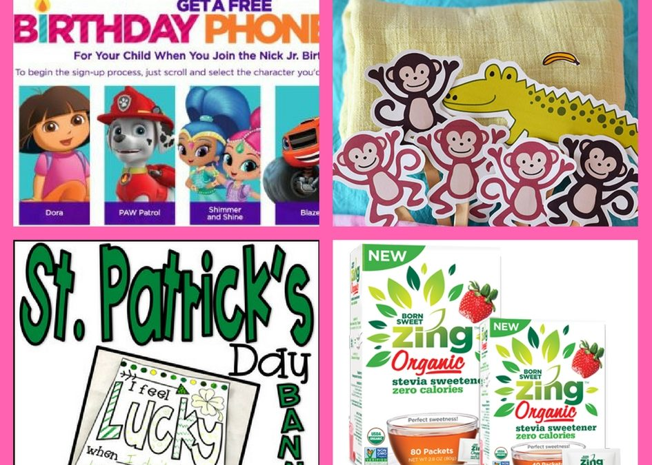Have You Requested These FOUR (4!) FREEbies: Birthday Call From Nick Jr., Printable Puppets, St. Patrick's Day Banner and Organic Sweetener!