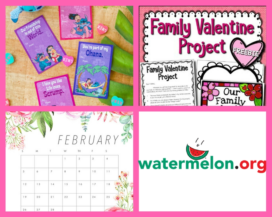 FOUR (4!) FREEbies: Lilo & Stitch Valentines, Family Valentine Project, February Calendar and Printables Library!