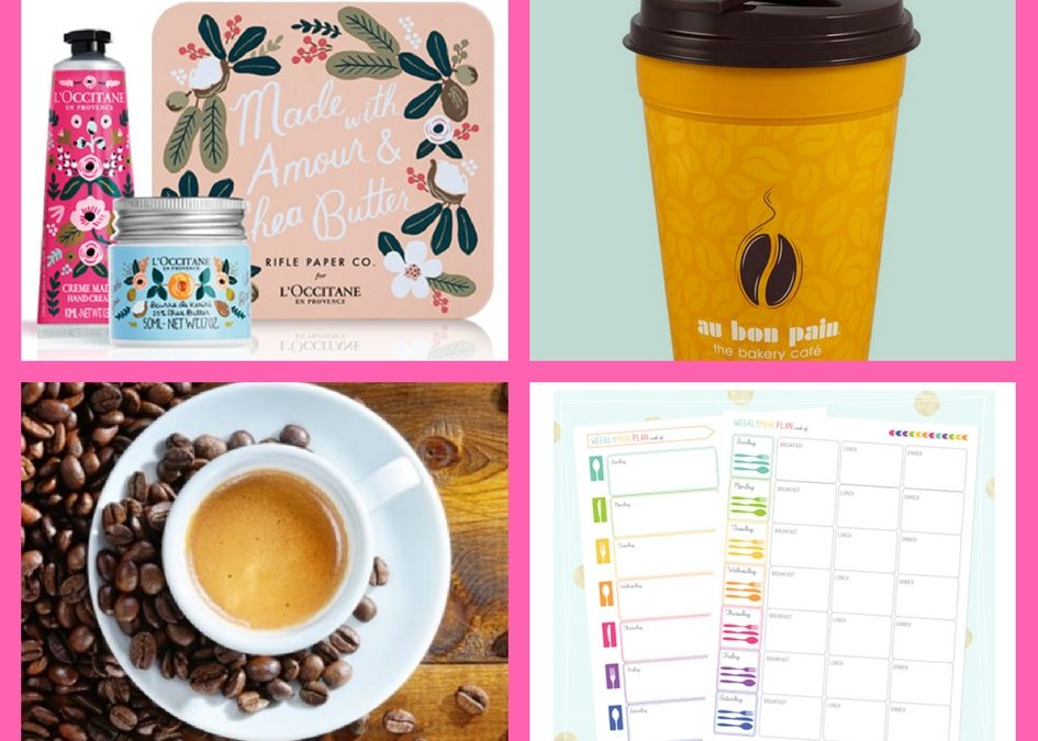FOUR (4!) FREEbies: L'Occitane Beauty Product, Travel Mug, Coffee and Meal Planner Printable!