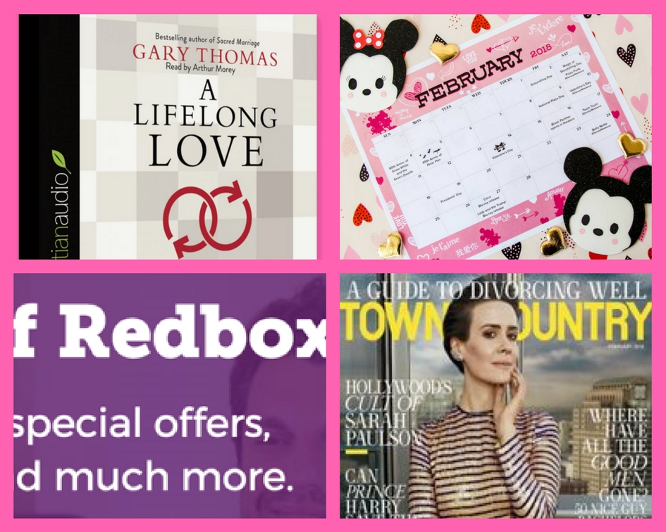 FOUR (4!) FREEbies: A Lifelong Love Christian Audiobook, Disney February Calendar, RedBox Rental Code and Annual Subscription to Town & Country!