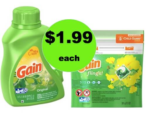 CHEAP LAUNDRY DETERGENT! Get Gain Liquid or Flings Only $1.99 Each at Winn Dixie! (2/24 ONLY)