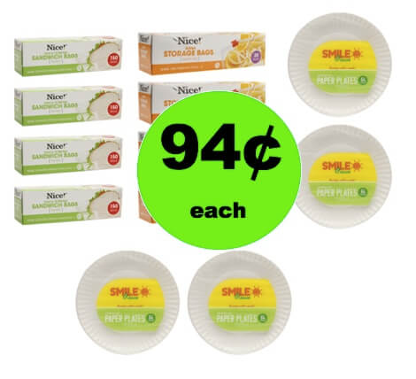 STOCK UP with 94¢ Nice! Plastic Storage Bags, Paper Plates & Aluminum Foil at Walgreens! (Ends 2/24)