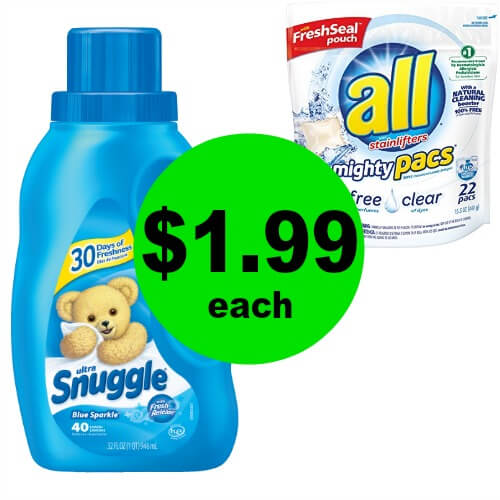 Tackle The Laundry with $1.99 All Detergent, Mighty Pacs, Snuggle Liquid or Sheets at CVS! (4/1-4/7)