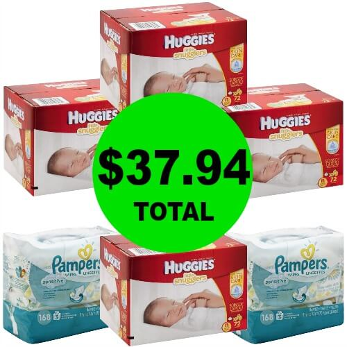 Get (4!) Huggies Diaper Boxes & (2!) Pampers Wipes Refills ONLY $37.94 at Publix! (Ends 3/28 or Only $4 More After 3/28)