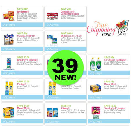 YIPPEE! There Are NOW Thirty-NINE (39!) NEW Coupons This Week! Save on Claritin, Pledge, Meow Mix & More!