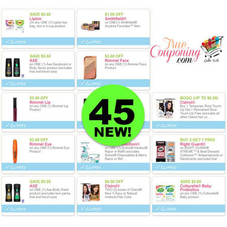 YIPPEE! There Are Forty-Five (45!) NEW Coupons Out This Week! Save on Axe, Rimmel, Clairol & More!