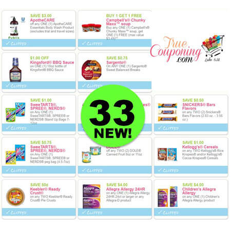 YOWZER! There Are Thirty-Three (33!) NEW Coupons Out Today! Save On Campbell's, Kellogg's, Kingsford & More!
