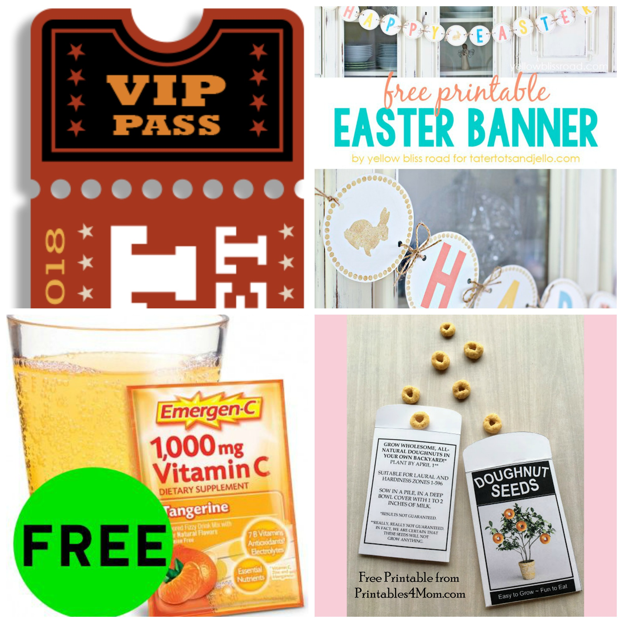 Did You See These FOUR (4!) FREEbies: Send Your Name the the Sun, Easter Banner, Emergen-C Packets and Donut Seeds Printable Packet!