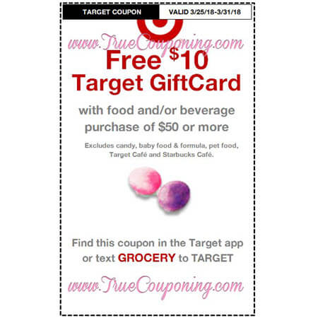 Heads Up! This Sunday (3/25/18) We're Getting (3) Target Coupons: FREE $10 GC wyb $50 Food/Beverage, FREE $15 GC wyb $75 Baby Dept. & FREE $5 GC wyb $25 Easter Shop!