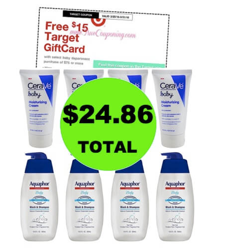 Get EIGHT (8!) Cerave & Aquaphor Baby Toiletries for ONLY $24.86 at Target (Save 67% Off)! (Ends 3/31)