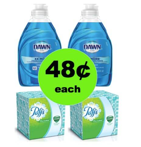 Everything's Clean with 48¢ Dawn Dish Soap & Puffs Tissues at Walgreens! (Ends 3/24)