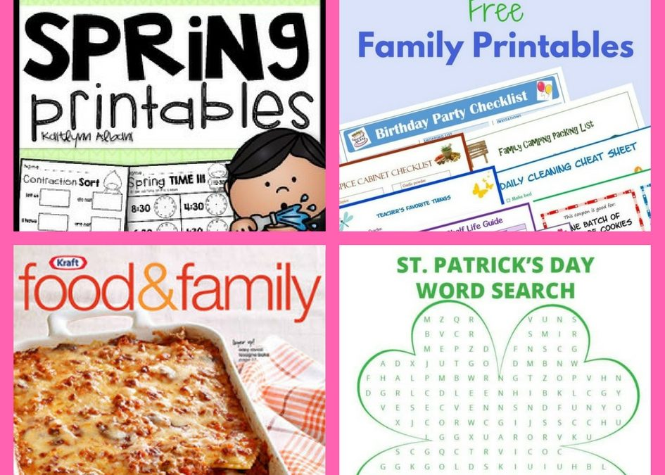 Did You See These FOUR (4!) FREEbies: Spring Printable, Family Binder Printables, Two-Year Subscription to Kraft Food and Family Magazine and St. Patrick's Day Word Search Printable!