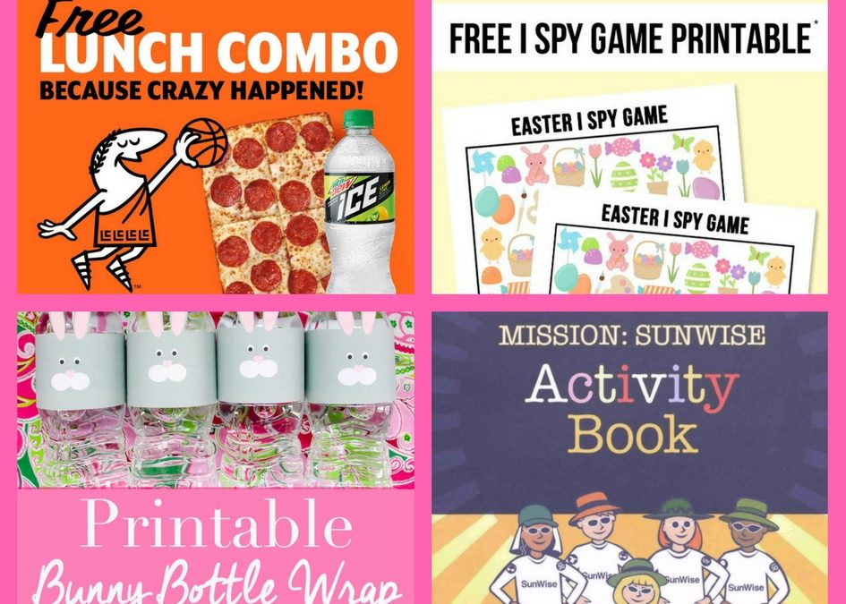 Did You See These FOUR (4!) FREEbies: Little Caesars Lunch Combo, I Spy Game Printable, Bunny Bottle Wrap Printable and Mission: Sunwise Activity Book!