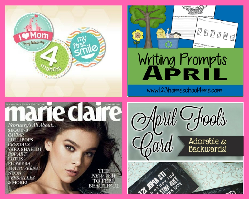 Did You See These FOUR (4!) FREEbies: Enfamil New Beginnings Family Bundle, April Writing Prompts, One Year Subscription to Marie Claire Magazine and April Fools Card!