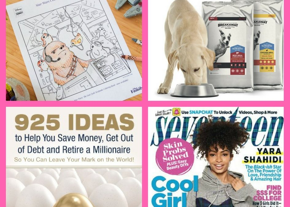 Did You See These FOUR (4!) FREEbies: Porg and Chewie Coloring Page, Texas Mills Dog Food, 925 Ideas to Help You Save Money, Get Out of Debt and Retire a Millionaire eBook and Annual Subscription to Seventeen Magazine!