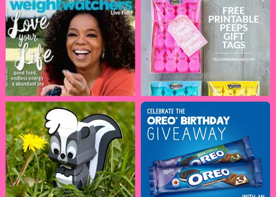 Don't Miss Out on These FOUR (4!) FREEbies: Annual Subscription to Weight Watchers Magazine, Peeps Gift Tags, Flower Cutie Papercraft and Oreo Chocolate Bar!