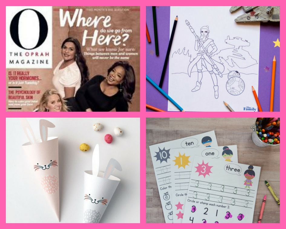 freebies one year subscription to oprah magazine starwars coloring sheets easter treat cones and preschool superhero number worksheets