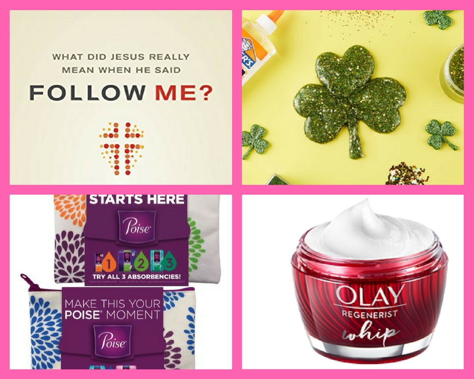 Did You See These FOUR (4!) FREEbies: Christian eBook, St. Patrick's Day Slime Event, Poise Starter Kit and Olay Whips Moisturizer!