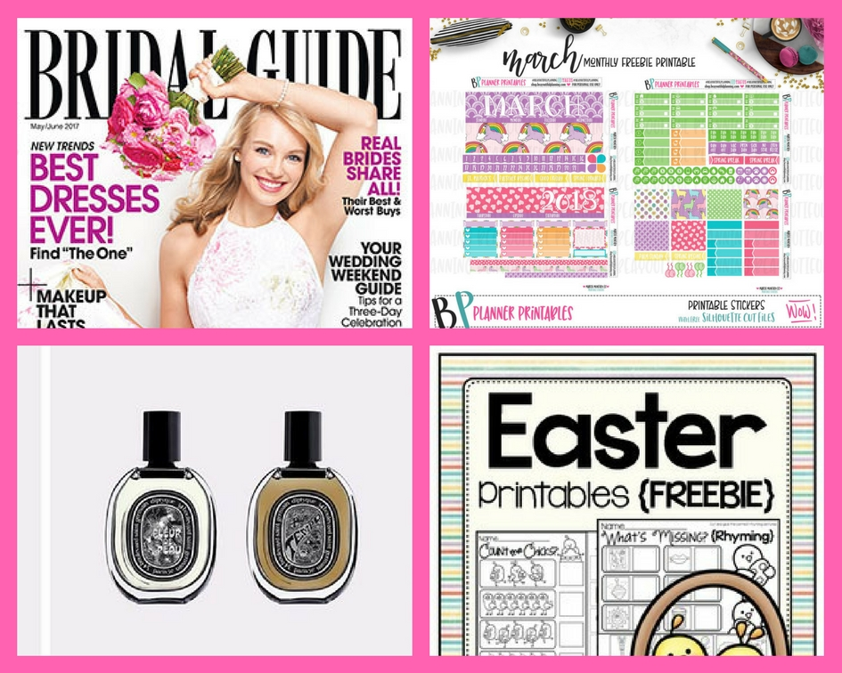 Don't Miss These FOUR (4!) FREEbies: One Year Subscription to Bridal Guide, March Planner Printable, Diptyque Fragrance and Easter Printables!