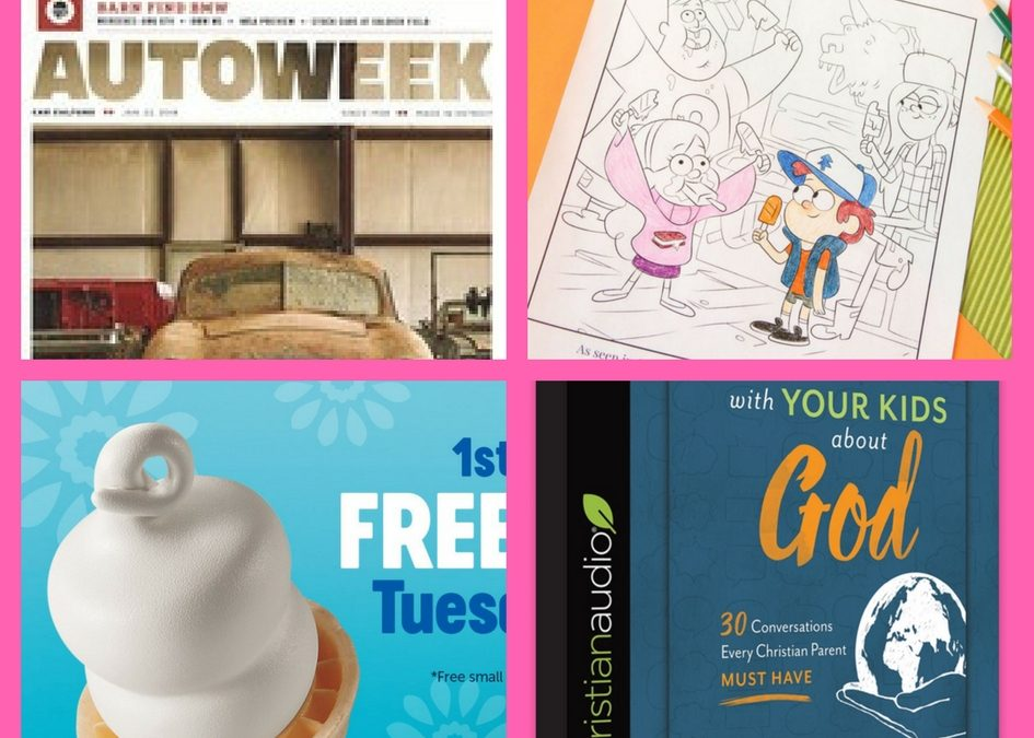 Don't Miss These FOUR (4!) FREEbies: One-Year Subscription to Autoweek Magazine, Gravity Falls Disney Coloring Page, Dairy Queen Ice Cream Cone and Talking With Your Kids About God Christian Audiobook!