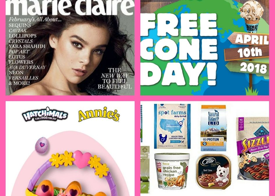 Did You See These FOUR (4!) FREEbies: One Year Subscription to Marie Claire Magazine, Ben & Jerry's Ice Cream, Hatchimals Scavenger Hunt and Amazon Dog Goodies Box!