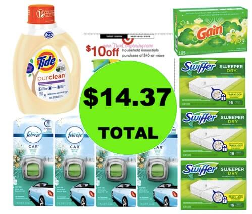 For Just $14.37, Get (2) Laundry Products, (3) Swiffer Refills & (4) Febreze Vent Clips at Target! (Ends 3/10)