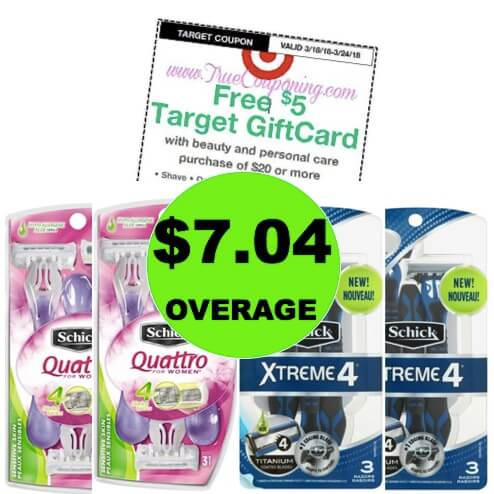 FOUR (4!) FREE + $7.04 OVERAGE on Schick Disposable Razors at Target! (Ends 3/24)