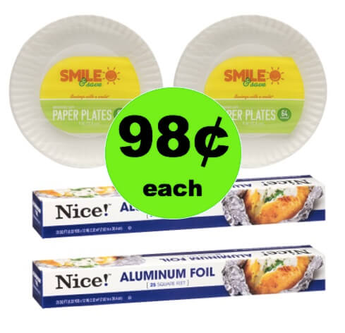 Be Ready for Those Backyard BBQs with 98¢ Smile Paper Plates or Nice! Aluminum Foil at Walgreens! (Ends 4/7)