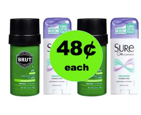 Banish the Stink with 48¢ Brut or Sure Deodorant at Walgreens! (3/4 – 3/10)