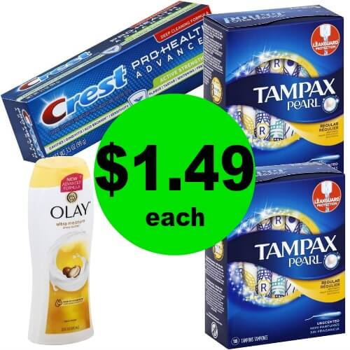 Olay Body Wash, Tampax & Crest, $1.49 at Publix! (Ends 4/24 or 4/25)