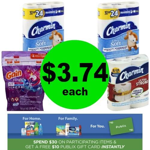 Charmin & Tide Pods OR Gain Flings, $3.74 at Publix! (Ends 4/17 or 4/18)