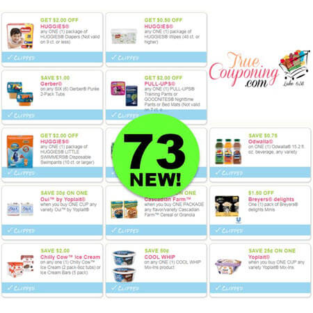 YOWZER! There are Seventy-Three (73!) NEW Coupons Out This Month! Save on Huggies, Breyers, Cool Whip & More!