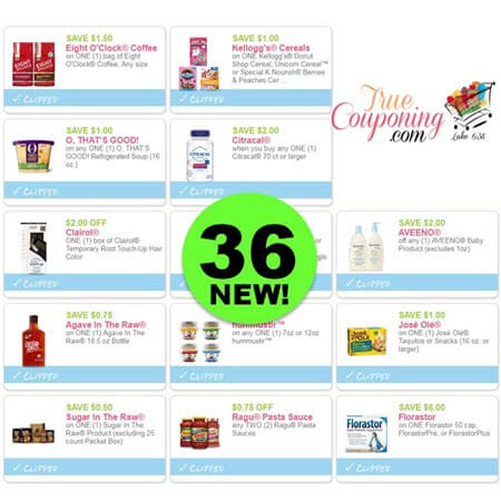 Halt For Thirty-Six (36) New Coupons For Kellogg's, Clairol & More!