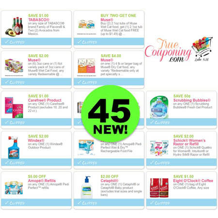 Use Some Ink On Forty-Five (45) New Coupons! Save on Tabasco & More!