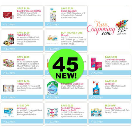 Forty-Five (45) New Coupons! Save on Eight O'Clock Coffee, Tabasco & More!
