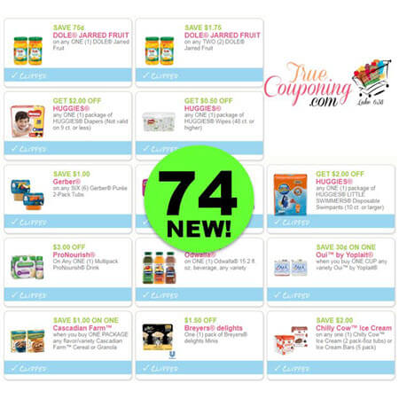 WAHOO! There Are Seventy-Four (74!) NEW Coupons Out This Month! Save on Dole, Yoplait, Dove & More!