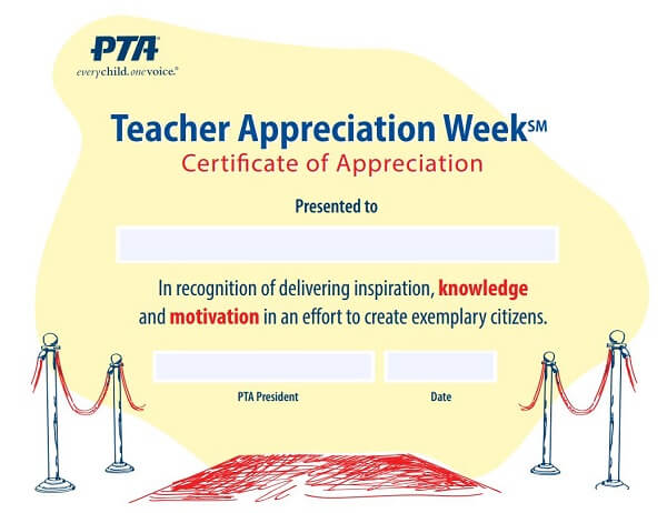 Teacher Appreciation Week Certificate of Appreciation