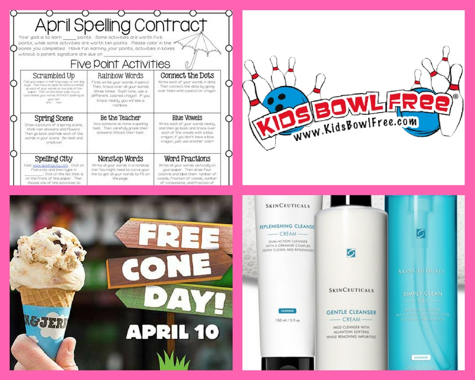 Don't Miss Out on These FOUR (4!) FREEbies: April Spelling Contract Printable, Kids Bowling, Ben & Jerry's Cone and Skin Cleanser!
