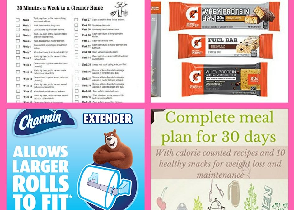 Did You Get These FOUR (4!) FREEbies: 30 Minutes/Week Cleaning Printable, Gatorade Amazon Box, Charmin Toll Extender and 30 Day Meal Plan!