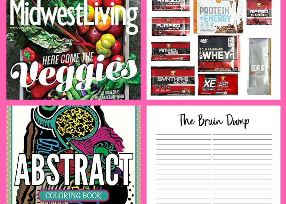 Make Sure to Get Your FOUR (4!) FREEbies: Annual Subscription to Midwest Living Magazine, Optimum Nutrition Amazon Box, Abstract Adult Coloring Book and Brain Dump Printable Page!